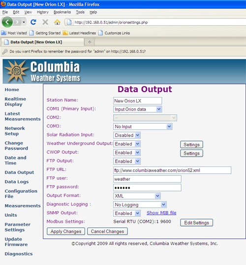 Display Data on a Web Page with the Weather MicroServer